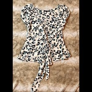 Nanette lepore animal print silk blouse size 8